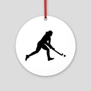 Field hockey girl Round Ornament
