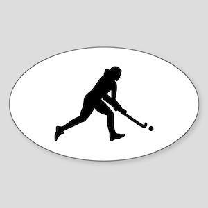 Field hockey girl Sticker (Oval)