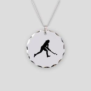 Field hockey girl Necklace Circle Charm