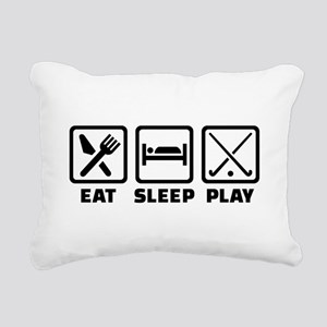 Eat sleep play field hoc Rectangular Canvas Pillow
