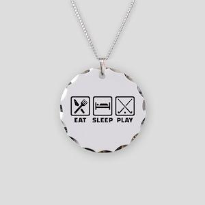 Eat sleep play field hockey Necklace Circle Charm