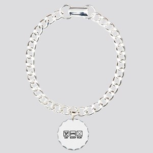 Eat sleep play field hoc Charm Bracelet, One Charm