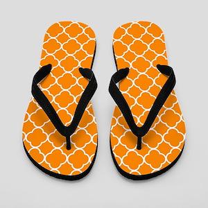 Orange: Quatrefoil Clover Pattern Flip Flops