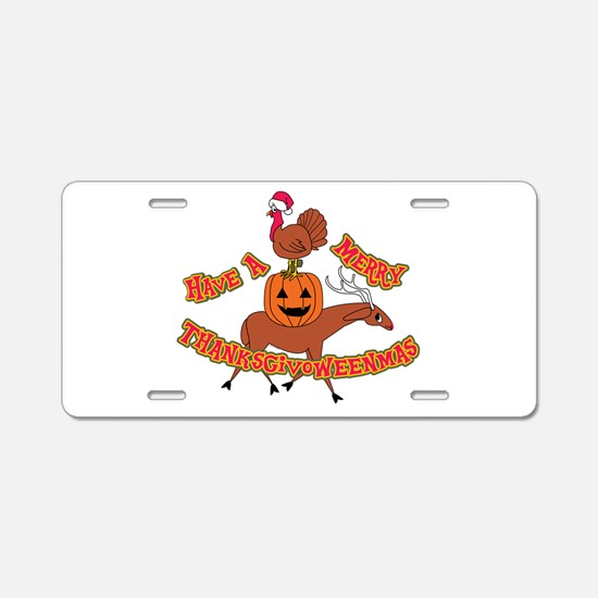 Merry Thanksgivoweenmas Aluminum License Plate