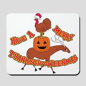 Merry Thanksgivoweenmas Mousepad