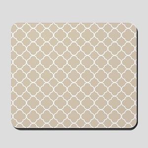 Brown, Beige: Quatrefoil Clover Pattern Mousepad