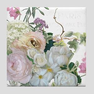 French Flower Market Paris Roses Peon Tile Coaster