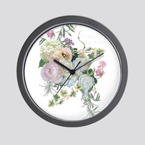 French Flower Market Paris Roses Peony Wall Clock