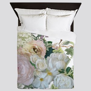 French Flower Market Paris Roses Peony Queen Duvet