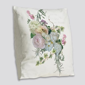 French Flower Market Paris Ros Burlap Throw Pillow