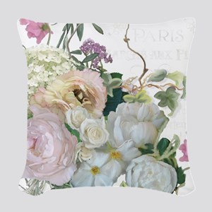 French Flower Market Paris Ros Woven Throw Pillow
