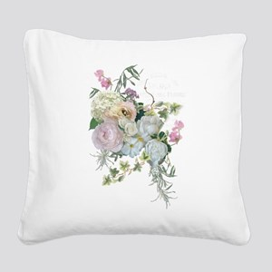 French Flower Market Paris Ro Square Canvas Pillow
