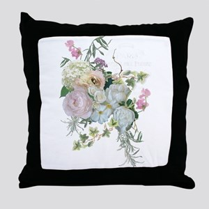 French Flower Market Paris Roses Peon Throw Pillow