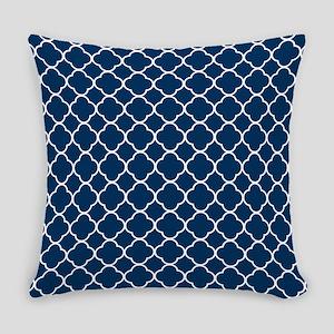 Blue, Navy: Quatrefoil Clover Patt Everyday Pillow