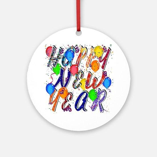Happy New Year Confetti Round Ornament