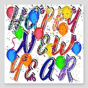 "Happy New Year Confetti Square Car Magnet 3"""