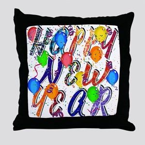 Happy New Year Confetti Throw Pillow