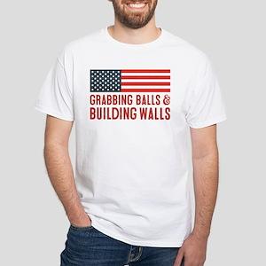 Grabbing Balls & Building Walls Flag T-Shirt