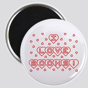 I Love Books! w Hearts Magnet
