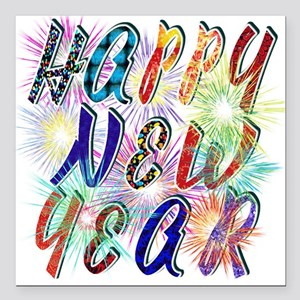 """Happy New Year Works Square Car Magnet 3"""" X 3"""