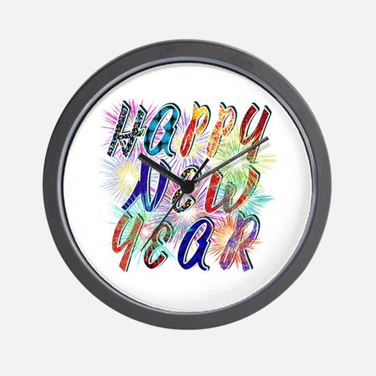 Happy New Year Works Wall Clock