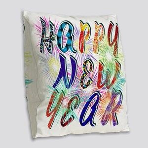 Happy New Year Works Burlap Throw Pillow