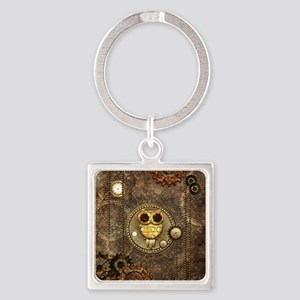 Awesome steampunk owl with clocks Keychains