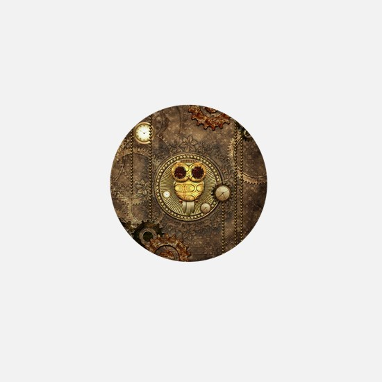 Awesome steampunk owl with clocks Mini Button (10