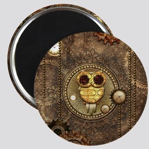 Awesome steampunk owl with clocks Magnets