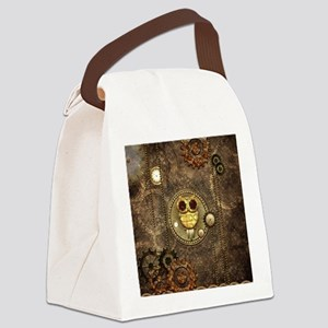 Awesome steampunk owl with clocks Canvas Lunch Bag
