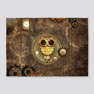 Awesome steampunk owl with clocks 5'x7'Area Rug