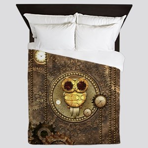 Awesome steampunk owl with clocks Queen Duvet