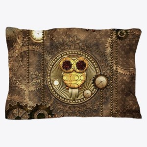 Awesome steampunk owl with clocks Pillow Case