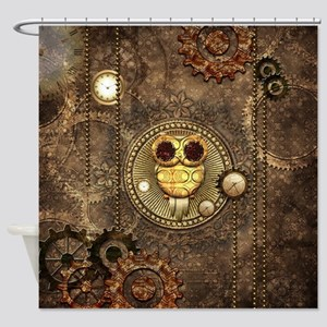 Awesome steampunk owl with clocks Shower Curtain