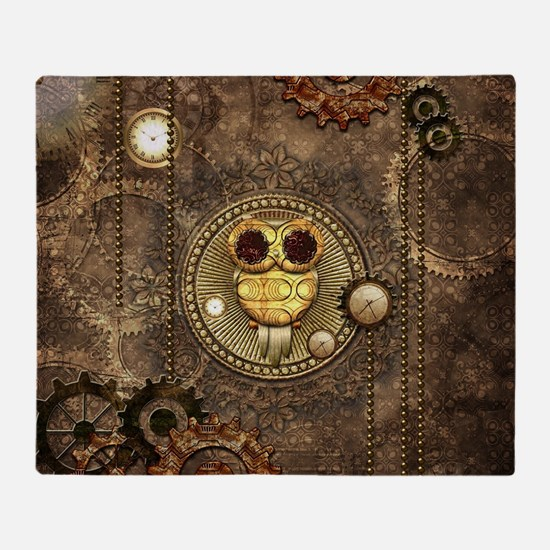 Awesome steampunk owl with clocks Throw Blanket