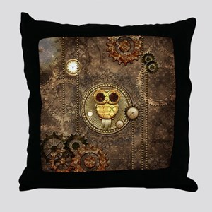 Awesome steampunk owl with clocks Throw Pillow