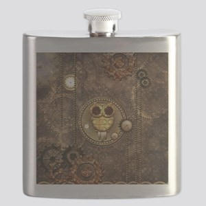 Awesome steampunk owl with clocks Flask