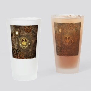 Awesome steampunk owl with clocks Drinking Glass