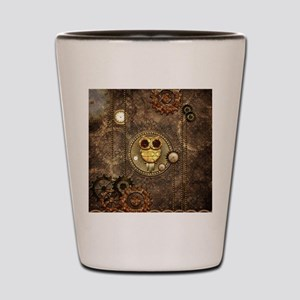Awesome steampunk owl with clocks Shot Glass