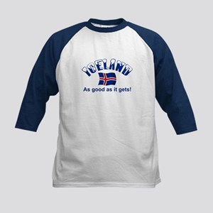 Iceland Flag Kids Baseball Jersey