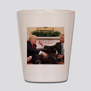 barack obama giving donald trump the mi Shot Glass