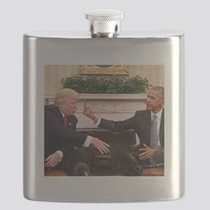 barack obama giving donald trump the middle Flask