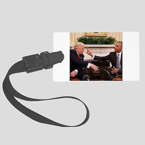 barack obama giving donald trump Large Luggage Tag