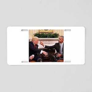 barack obama giving donald Aluminum License Plate