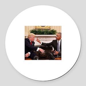 barack obama giving donald trump Round Car Magnet