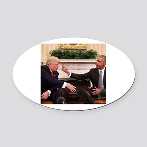 barack obama giving donald trump t Oval Car Magnet