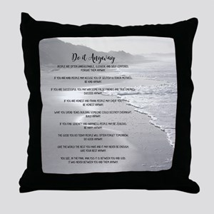 Misty Ocean Beach Do It Anyway Throw Pillow