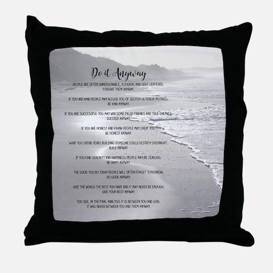 Misty Ocean Beach Do It Anyway Throw Pillow