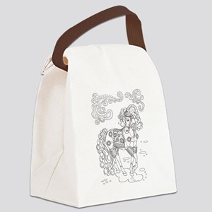 Prancing Paisley Horse Design Canvas Lunch Bag