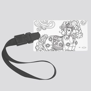 Prancing Paisley Horse Large Luggage Tag